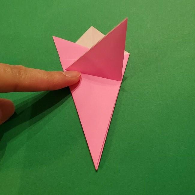 折り紙の桜(立体・1枚)の作り方折り方 (14)