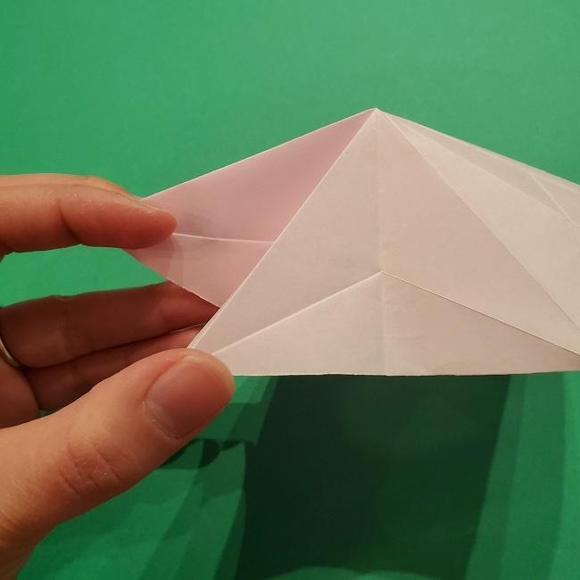 折り紙の桜(立体・1枚)の作り方折り方 (24)