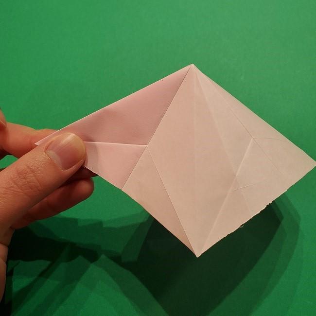 折り紙の桜(立体・1枚)の作り方折り方 (25)