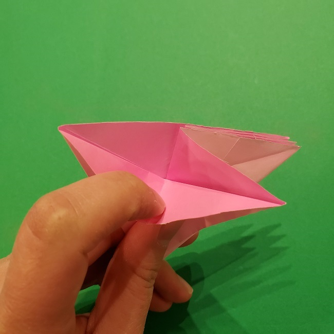折り紙の桜(立体・1枚)の作り方折り方 (32)