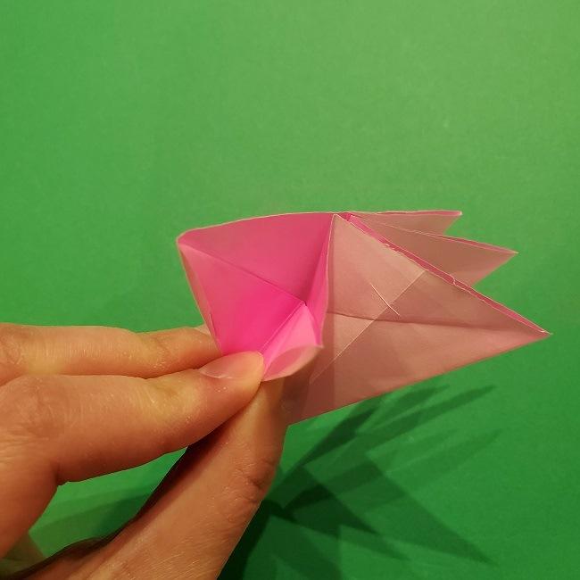 折り紙の桜(立体・1枚)の作り方折り方 (33)