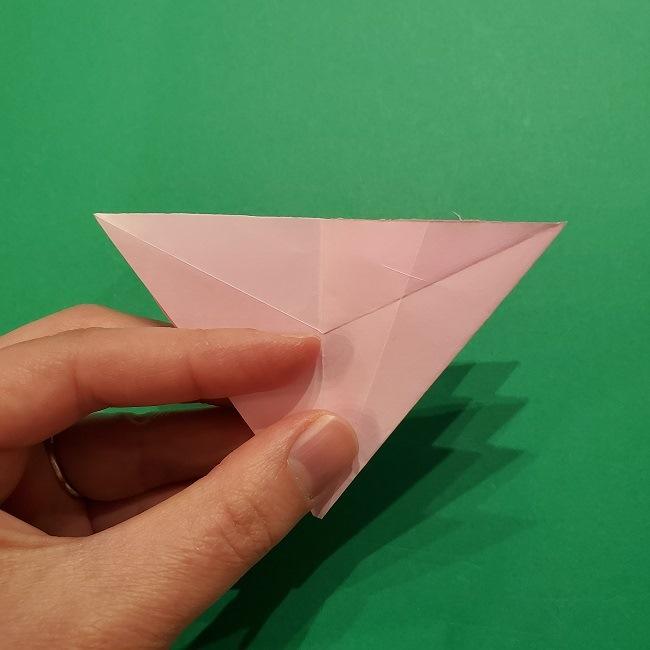 折り紙の桜(立体・1枚)の作り方折り方 (34)