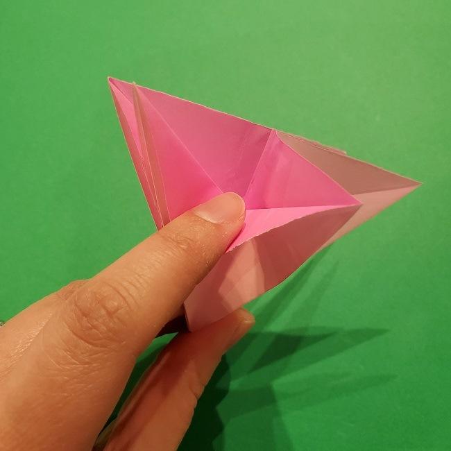 折り紙の桜(立体・1枚)の作り方折り方 (35)