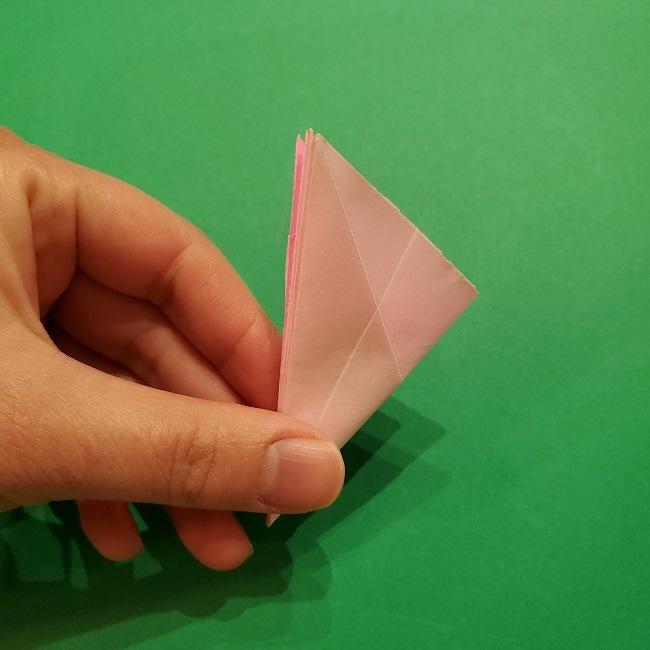 折り紙の桜(立体・1枚)の作り方折り方 (36)