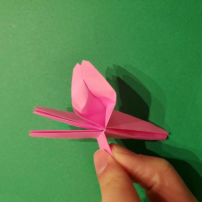 折り紙の桜(立体・1枚)の作り方折り方 (49)