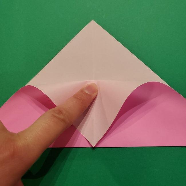 折り紙の桜(立体・1枚)の作り方折り方 (5)