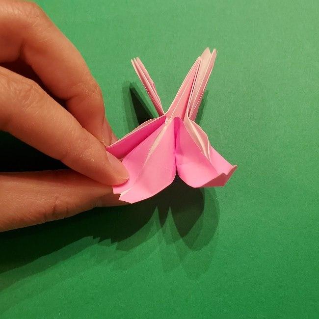 折り紙の桜(立体・1枚)の作り方折り方 (51)