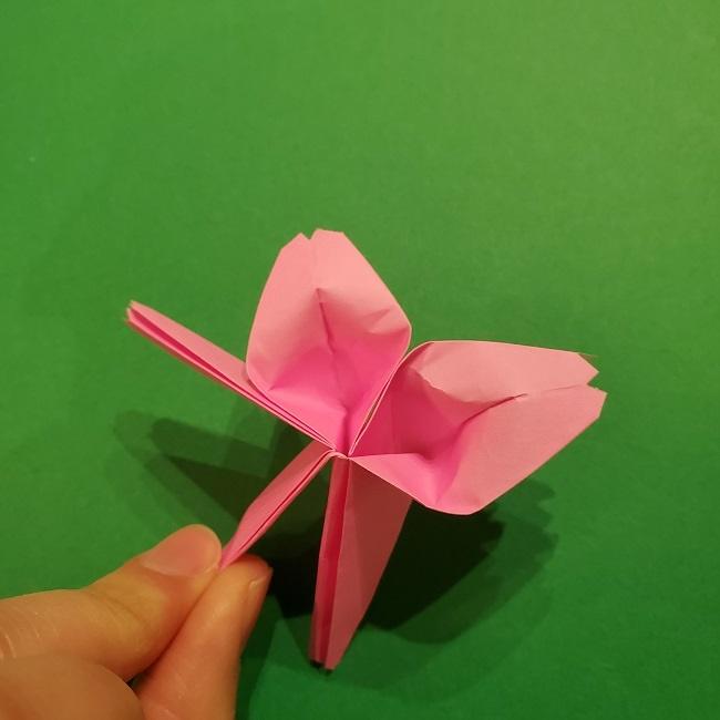 折り紙の桜(立体・1枚)の作り方折り方 (52)