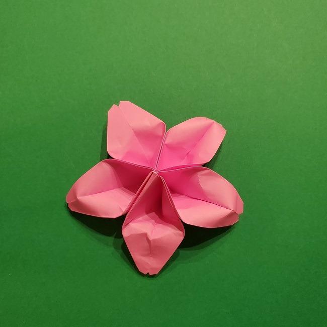 折り紙の桜(立体・1枚)の作り方折り方 (53)