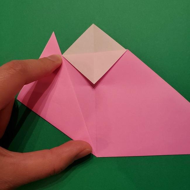 折り紙の桜(立体・1枚)の作り方折り方 (8)