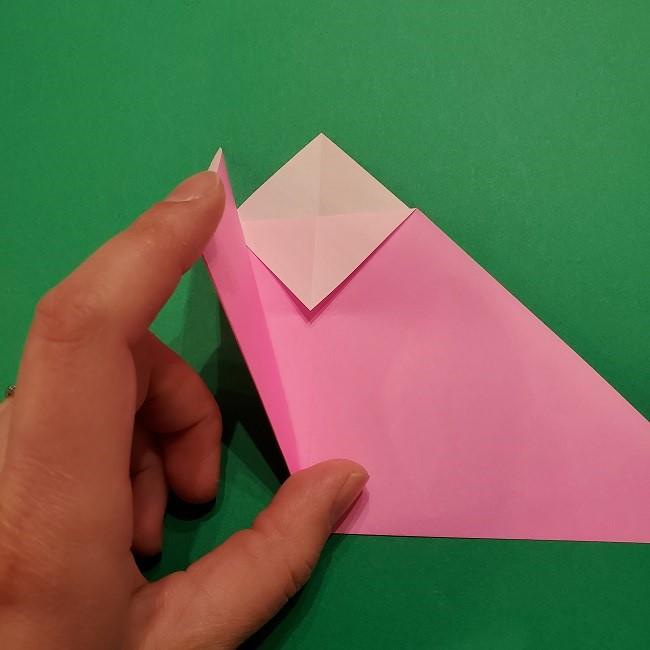 折り紙の桜(立体・1枚)の作り方折り方 (9)