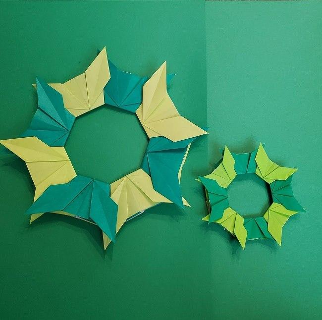 折り紙の花リース平面飾りにアレンジ色々♪