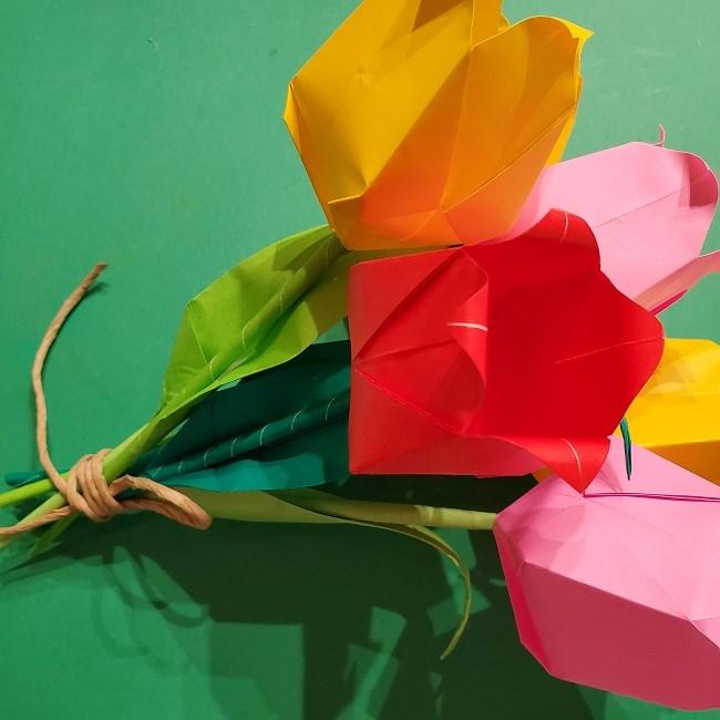 折り紙の花束(子供にも!)立体的なチューリップブーケの作り方 (22)