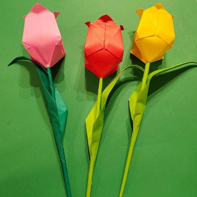 折り紙の花束(子供にも!)立体的なチューリップブーケの作り方 (1)