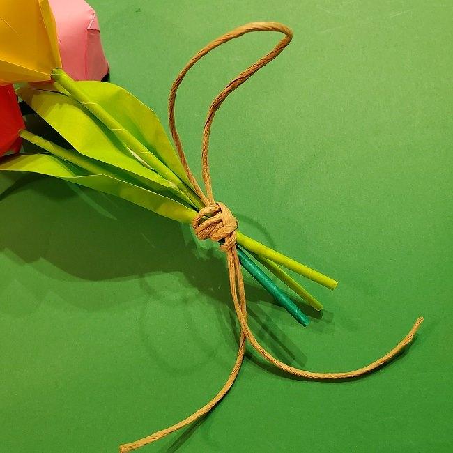 折り紙の花束(子供にも!)立体的なチューリップブーケの作り方 (11)