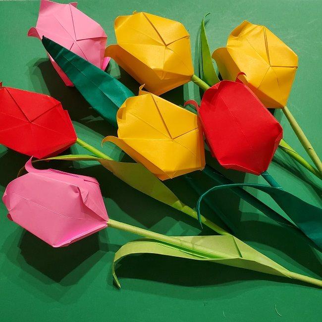 折り紙の花束(子供にも!)立体的なチューリップブーケの作り方 (14)