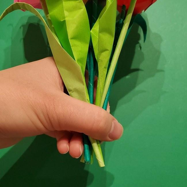 折り紙の花束(子供にも!)立体的なチューリップブーケの作り方 (15)