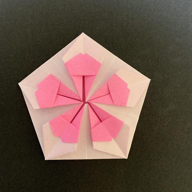 折り紙コースター(桜)の折り方作り方★1枚でつくれる簡単かわいい春の花