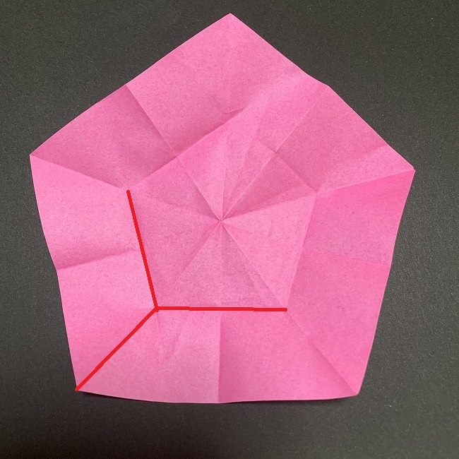 折り紙コースター(桜):折り方作り方 (21)
