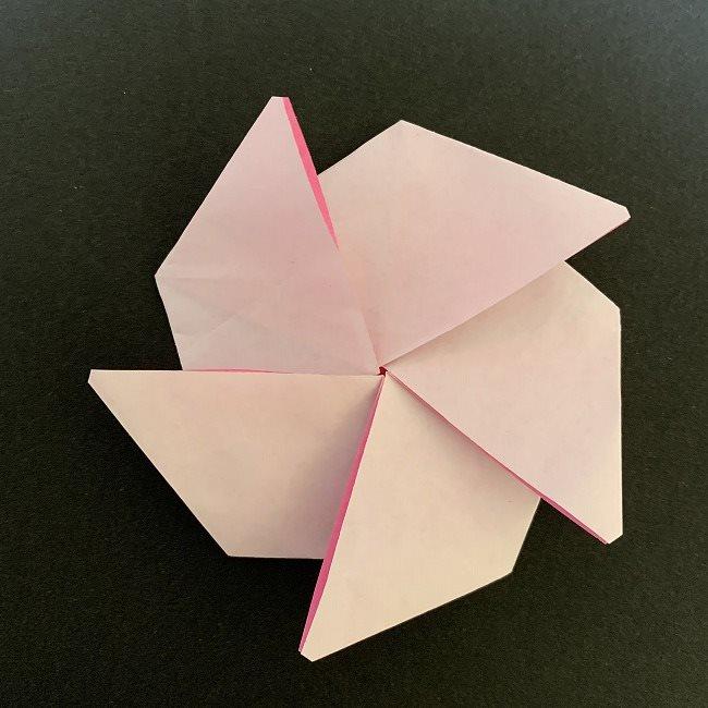 折り紙コースター(桜):折り方作り方 (25)
