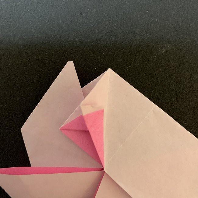 折り紙コースター(桜):折り方作り方 (29)