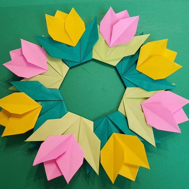 折り紙 チューリップのリース(春)の作り方★簡単かわいい春の壁飾りを手作り♪
