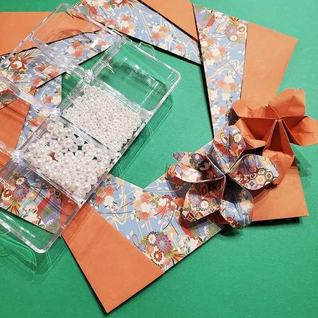 折り紙 桜の立体的なリースの作り方 (31)