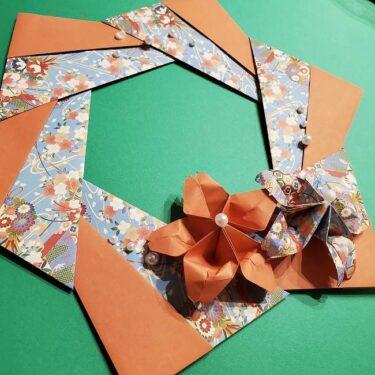 折り紙 桜の立体的なリース(壁飾り)の作り方★かわいい春のデコレーション