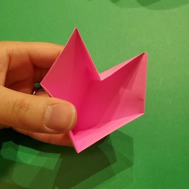 桜の折り紙 器(小物入れ)の折り方作り方 (26)