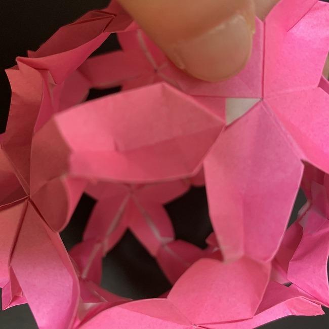 桜の折り紙 立体的なくす玉*折り方作り方 (45)