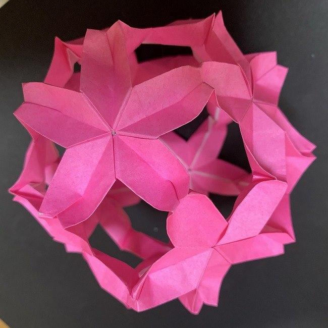 桜の折り紙 立体的なくす玉*折り方作り方 (46)
