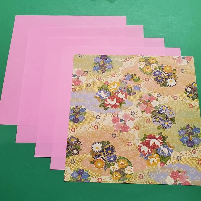 桜の折り紙 立体的な器*用意するもの (1)
