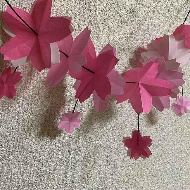 桜の装飾・折り紙ガーランドの作り方 (9)