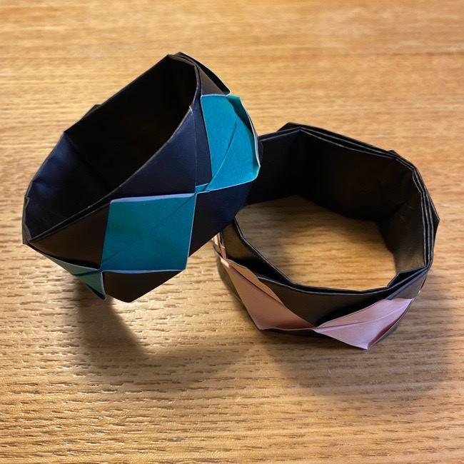 鬼滅の刃 折り紙ブレスレットは簡単かわいい!炭治郎と禰豆子(ねずこ)のカラーで作ってみた♪