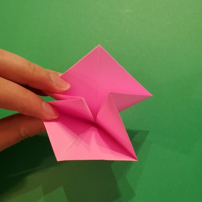 4月の折り紙 チューリップ(立体)の花*作り方折り方 (17)
