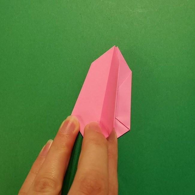 4月の折り紙 チューリップ(立体)の花*作り方折り方 (22)