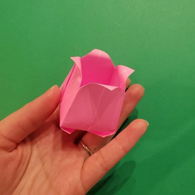 4月の折り紙 チューリップ(立体)の花*作り方折り方 (34)