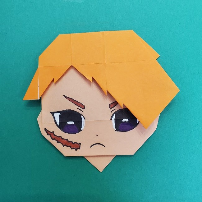 きめつのやいばの折り紙 さびと(錆兎)*折り方 (4)