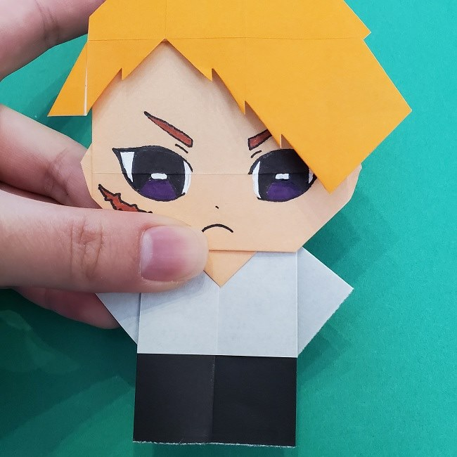 きめつのやいばの折り紙 さびと(錆兎)*折り方 (6)
