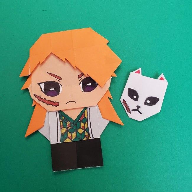きめつのやいばの折り紙 さびと(錆兎)*折り方 (9)