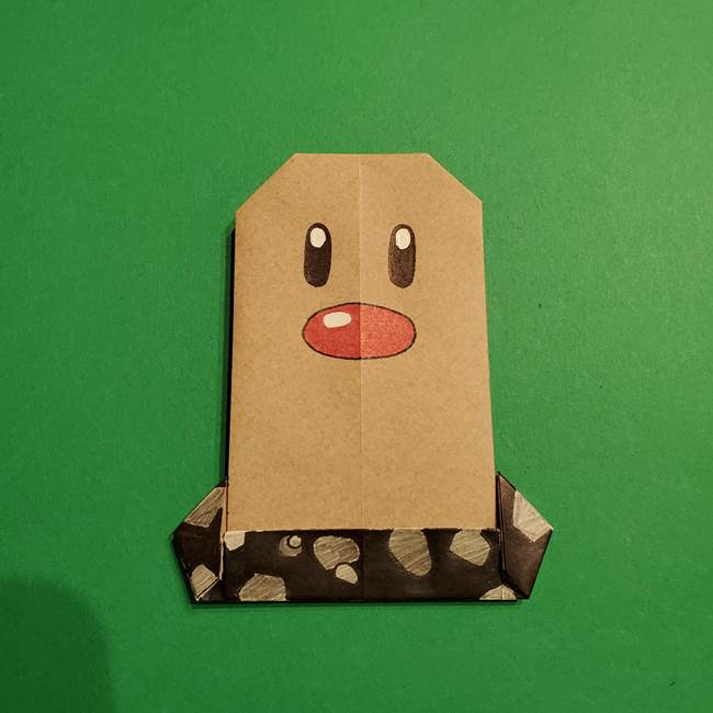 ポケポケモン折り紙 ディグダの折り方!1枚で体まで作れるかわいいキャラクター☆モン(ポケットモンスター)折り紙のディグダの折り方作り方(31)
