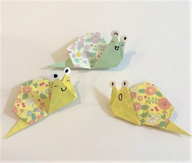 折り紙でかたつむりを3歳児の娘と作ったよ♪