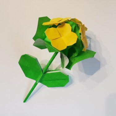 折り紙でつくる菜の花の葉っぱ・茎の折り方★簡単にできる3月の切り花アレンジ!