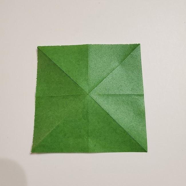 折り紙のクローバー(4枚ver)*折り方・作り方1葉っぱ (6)