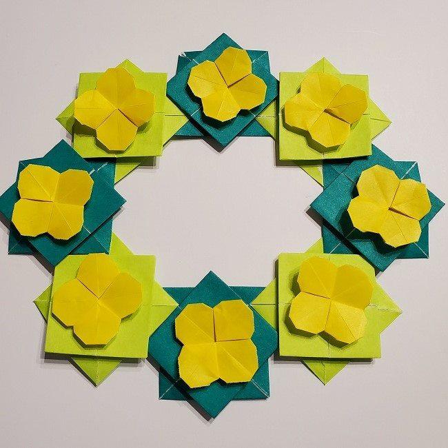 折り紙の菜の花のリースの作り方 (3)