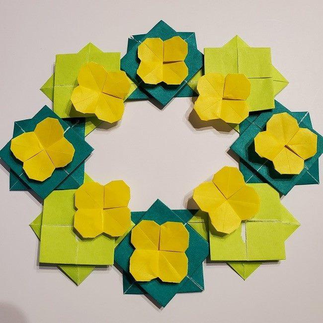 折り紙の菜の花のリースの作り方 (4)