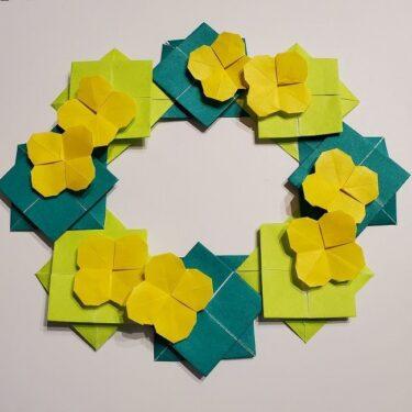 折り紙 菜の花のリースの作り方★3月4月の壁面飾りにも最適!