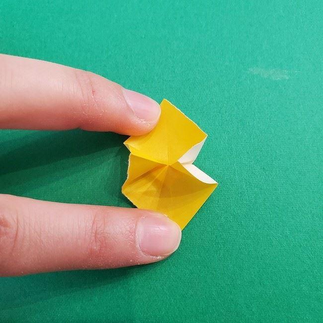 折り紙 菜の花(立体)の折り方作り方1花 (15)