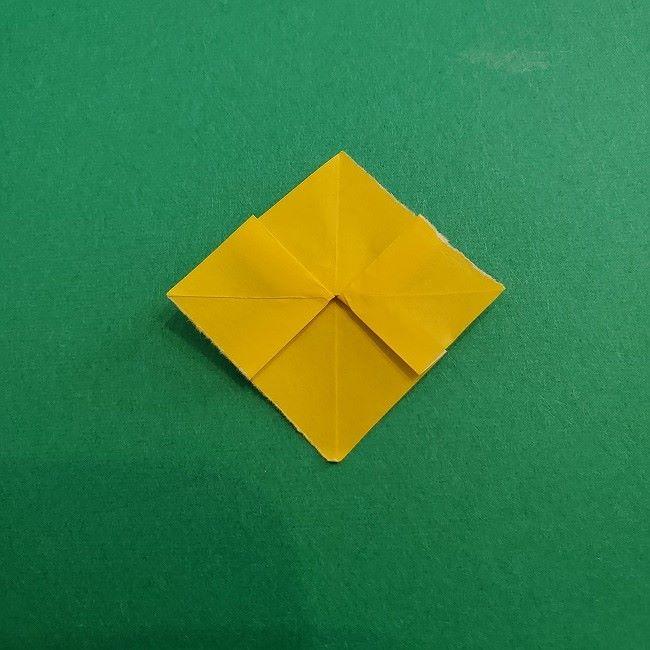 折り紙 菜の花(立体)の折り方作り方1花 (17)