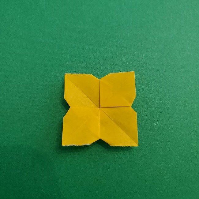 折り紙 菜の花(立体)の折り方作り方1花 (22)